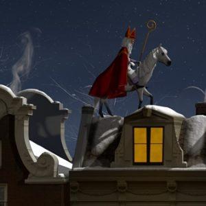Sinterklaas op zijn witte paard op besneeuwde daken